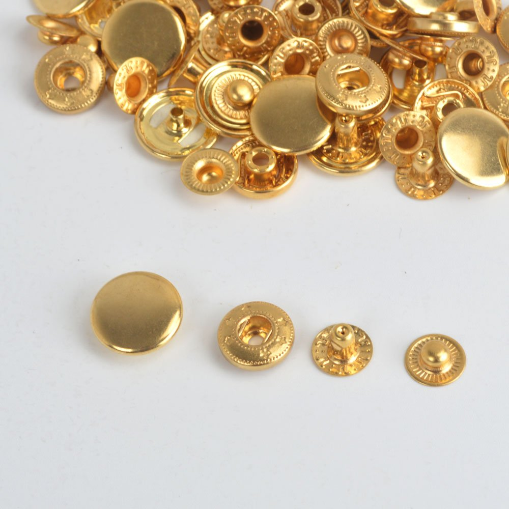 Pack of 15 Sets 10/12.5/15.17mm Gold Snap Fasteners Press Studs Clothing Buttons For Clothing and Accessories Adding Secure Closure to Jackets, Jeans, Bags, Straps and Other Sewing Projects - Popper for Clothes Repair (15) ifsecond