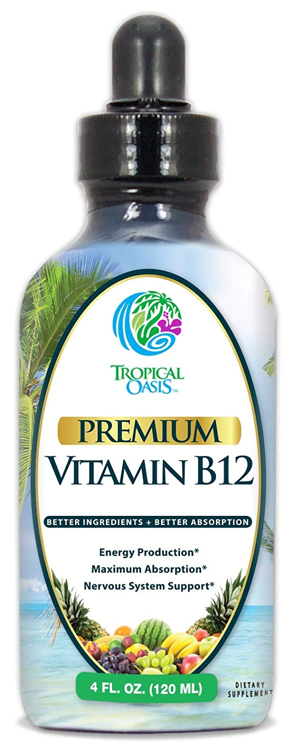 Tropical Oasis Sublingual Vitamin B12 Liquid Drops as Methylcobalamin – Maximum Absorption – Help Fights fatigue and provides natural energy* -Vegan, Non-GMO, Gluten Free- Strawberry Flavor – 4 oz