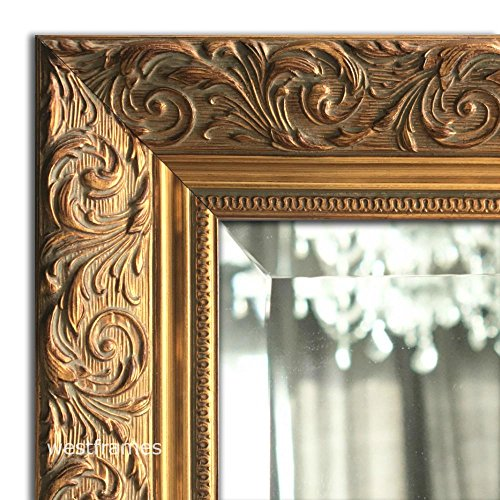 West Frames Bella Ornate Embossed Framed Wall Mirror 34.25 x 44.25 , Antique Gold