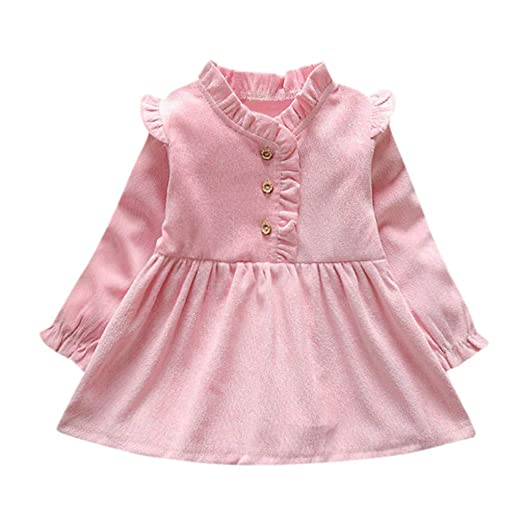 4493e09cb Amazon.com: Kalinyer Baby Girls Dresses, Cute Ruffle Sun Dress Toddler Kids  Girls Long Sleeve Skirts Clothes Outfits: Clothing