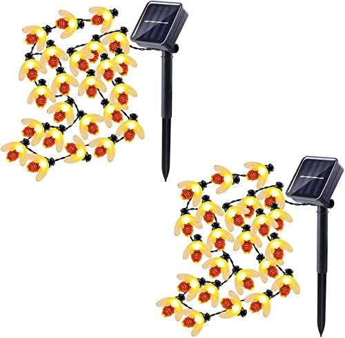 Solar String Lights Honeybees 30 LED 19.7ft 8 Modes Outdoor String Lights Waterproof Solar Powered String Lights for Outdoor Garden Decor Warm White