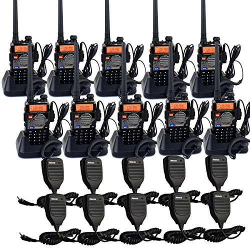 Retevis RT-5RV Walkie Talkies 5W 128CH Dual Band VHF/UHF 136-174/400-520  MHz VOX CTCSS/DCS FM Ham Radio with Earpiece (10 Pack) and Speaker Mic (10