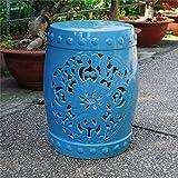 International Caravan Isfahani Ceramic Garden Stool in Aqua Blue
