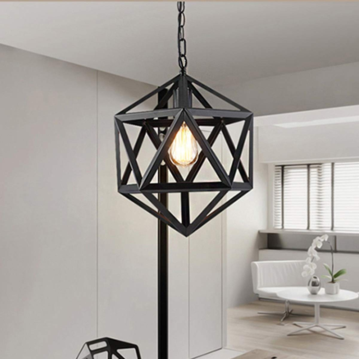 NANGE Retro Industrial Chandelier,Wrought Iron Creative Personality Polyhedral Diamond Pendant Lights,Kitchen Island Table Dining Room Hanging LampE27(Without Light Source) by NANGE (Image #1)