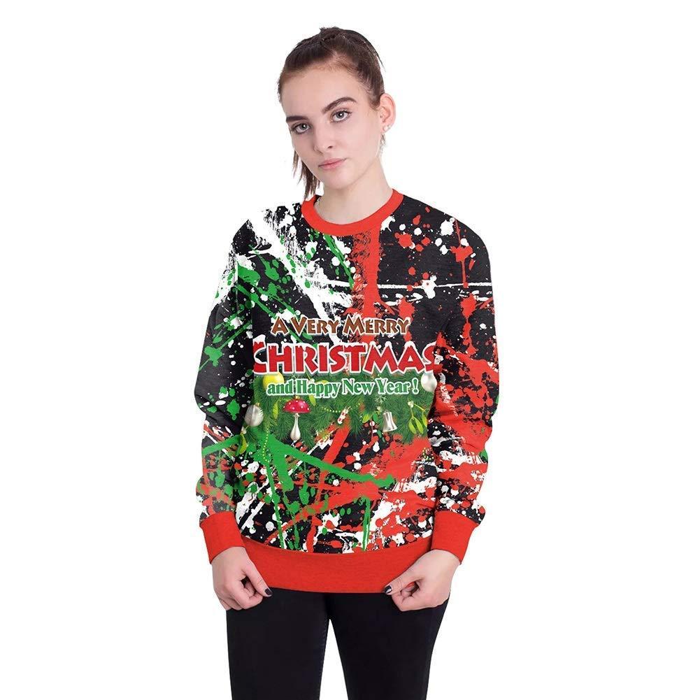 FuweiEncore Damenschuhe New Christmas Festival 3D Digital Print Paar Sweatshirts, Männer übergroßen Rundhals Pullover Tops Weihnachten Karneval Festival (Farbe   21, Größe   L)
