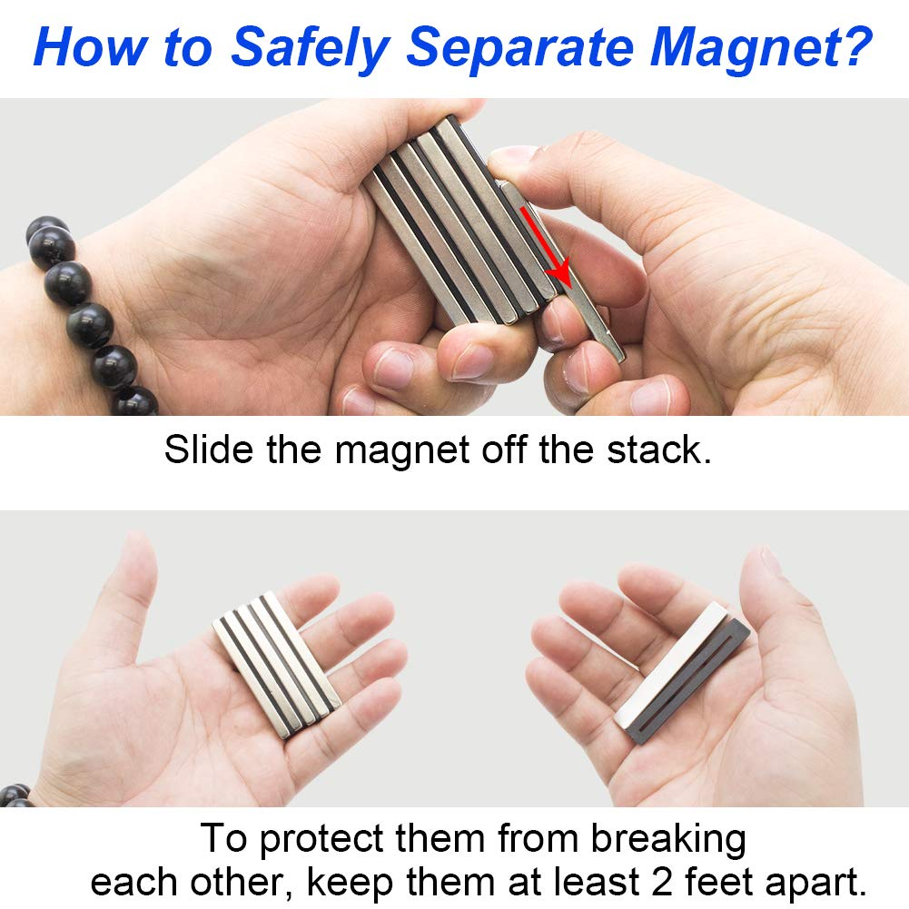 Building Neodymium Bar Magnets Super Strong Neodymium Magnets with Double-Sided Adhesive for Fridge and Office Rare Earth Magnets Small Craft Pack of 6 60 x 10 x 4mm Scientific DIY