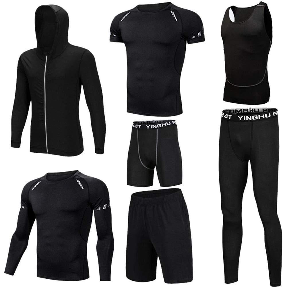 Wuxingqing Gym Wear Fitness Bekleidung Set 7-teiliges Herren-Set für trockene Kompression mit Outwear, Kompressionshose, 3er-Pack Tshirt, 2er-Pack (Color : Black, Size : XL)