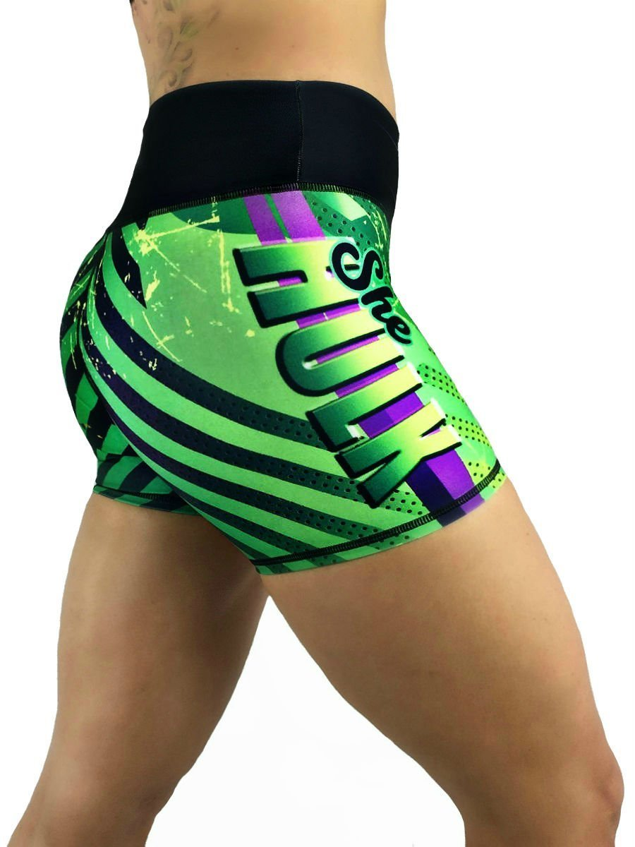 Activewear Crossfit Superhero Yoga Women's Booty Boy Gym Shorts (Several Styles) (She Hulk Green)