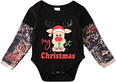 Baby Boy Girl Romper Fake Tattoo-Sleeve Cotton Infant Jumpsuit Newborn Rompers