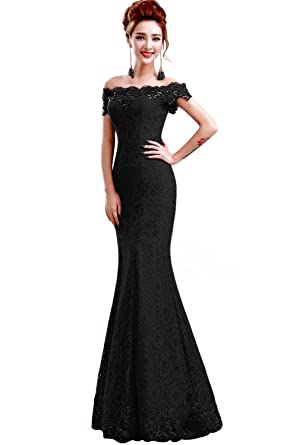 0b2fe790268f Babyonline 2016 off shoulder Black Mermaid Evening Formal Bridesmaid dress