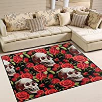 Naanle Halloween Red Rose Skull Area Rug 4x5, Floral Skull Polyester Area Rug Mat for Living Dining Dorm Room Bedroom Home Decorative