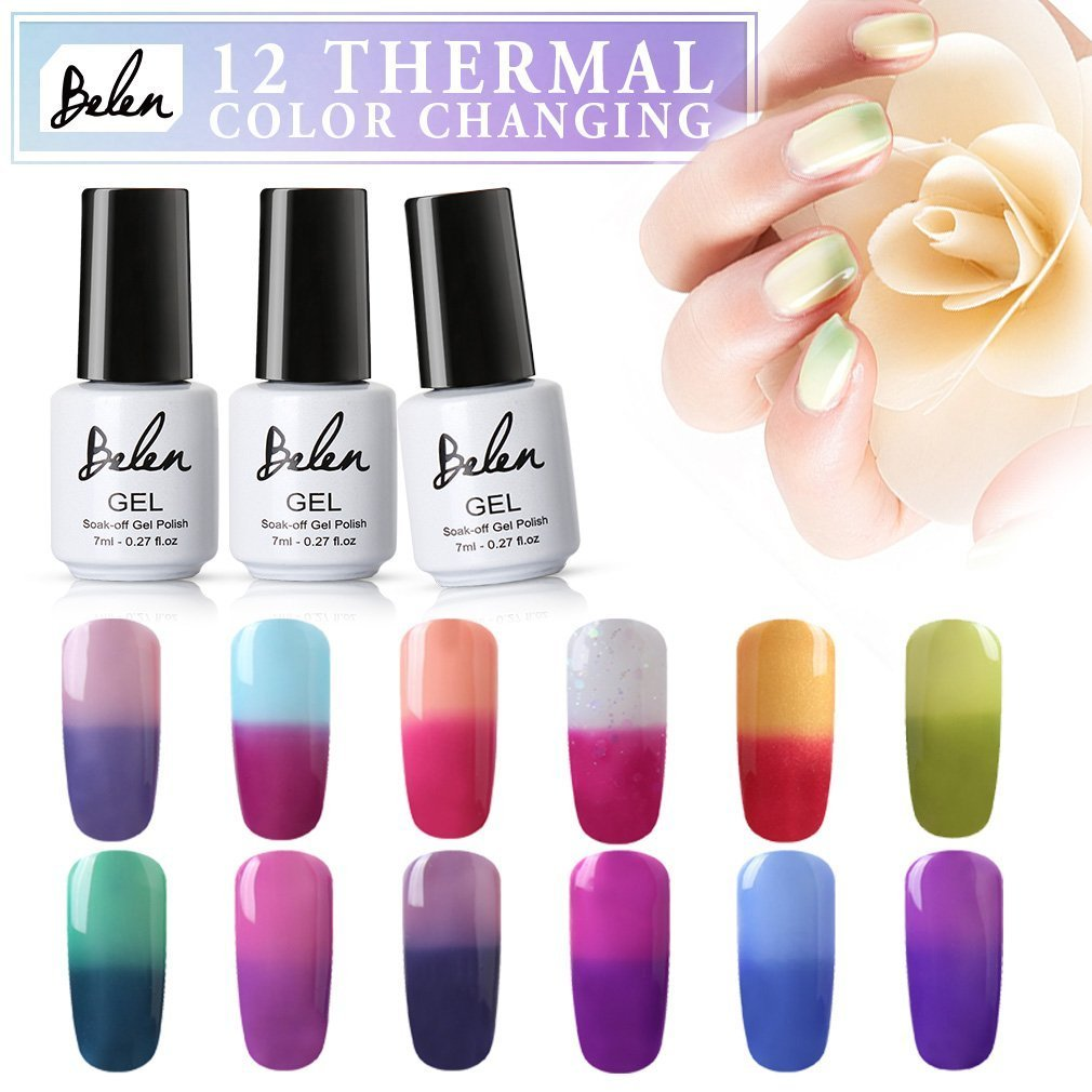 Gel Nail Polish Kit, Belen 12pcs Soak Off UV LED Nail Varnish New Start Set Nude Color Collections Lacquers Manicure Nail Art Gift Sets (#14) BAILUN