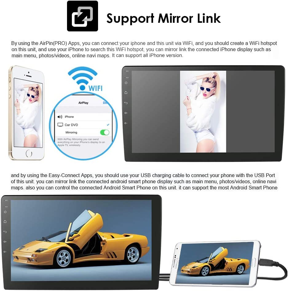 10.1 Android 9.0 2GB 32GB Double Din Car Stereo Radio with Bluetooth Dash Cam USB OBD2 AUX MirrorLink WiFi Subwoofer GPS Navigation Support Fastboot Backup Camera