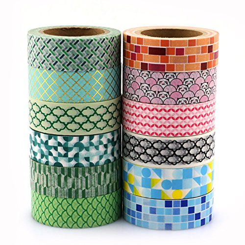 Washi Tape Set 12 Rolls for Scrapbooking - Masking Decorative Collection for DIY Schedule Book Crafts Wraping and Holiday Decoration