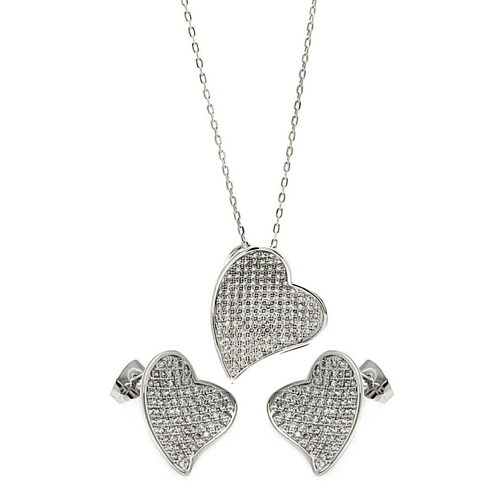 CloseoutWarehouse Clear Micro Pave Cubic Zirconia Heart Pendant Rhodium Plated Sterling Silver