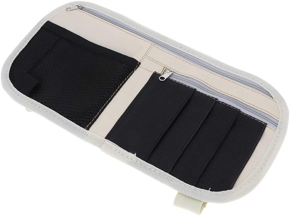 Tasche f/ür Sonnenblende Auto Kartenhalter Sonnenblenden Organizer 30 x 15 cm Beige