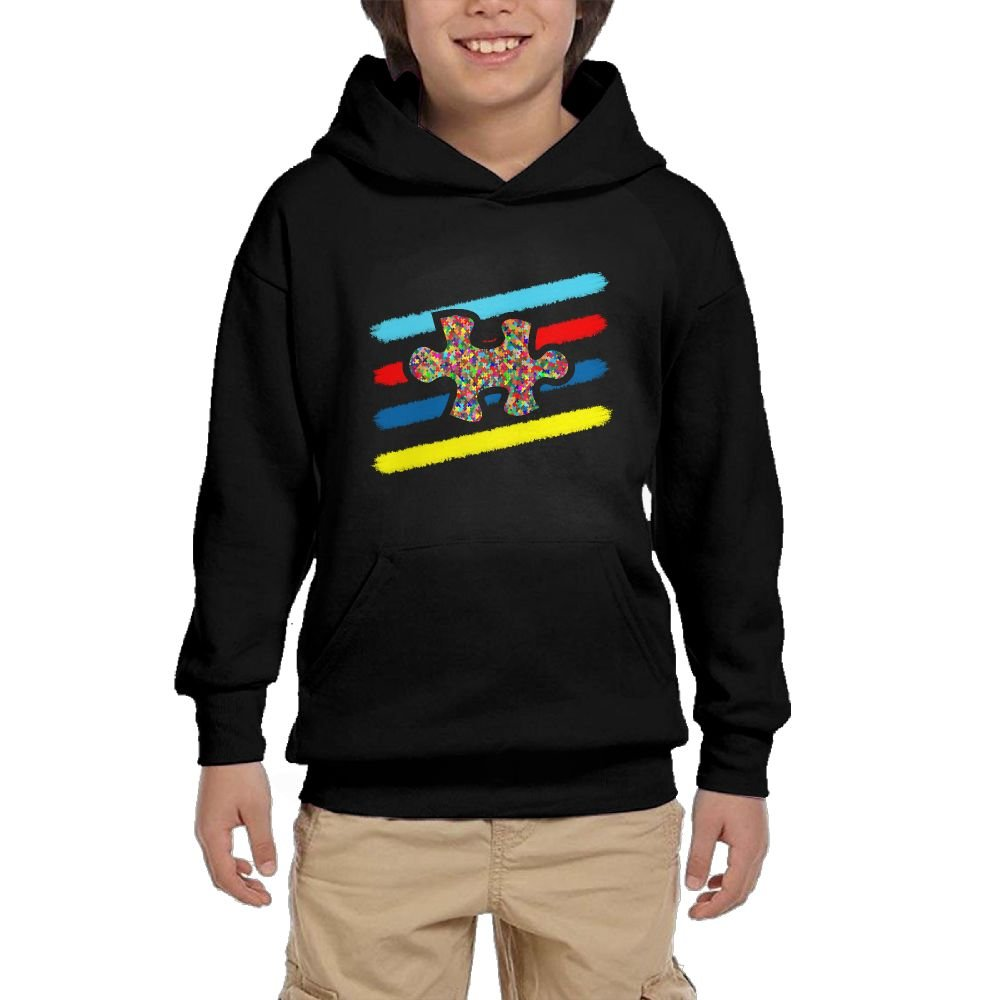Hapli Youth Black Hoodie Autism Puzzle Piece Hoody Pullover Sweatshirt Pocket Pullover For Girls Boys L by Hapli