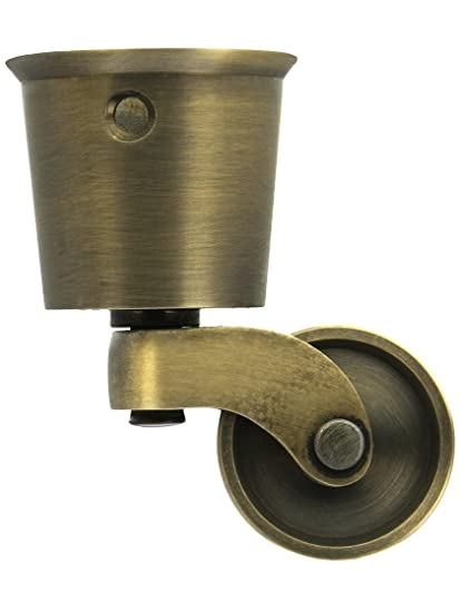 Solid Brass Round Cup Caster With Brass Wheel In Antique-By-Hand Finish - Amazon.com: Solid Brass Round Cup Caster With Brass Wheel In Antique