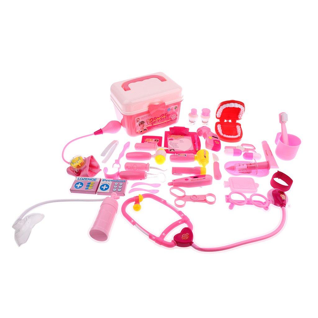 Homyl Kinder Arztkoffer mit verschiedene Werkzeuge Kit für Kinder Arzt Krankenschwester Rollenspiel Spielzeug - Blau, 23pcs