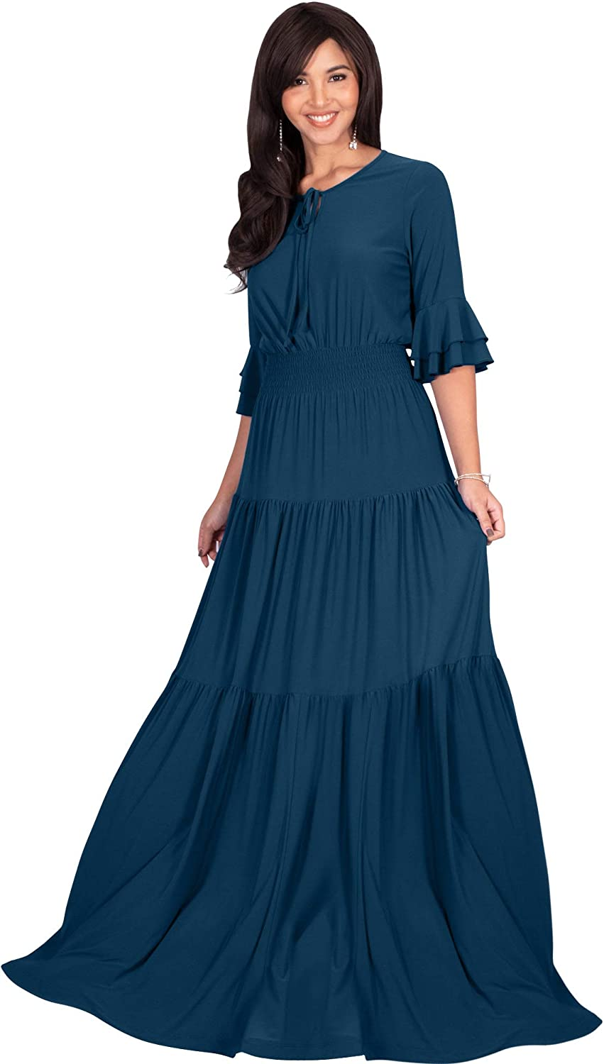 Cottagecore Dresses Aesthetic, Granny, Vintage KOH KOH Womens Boho Casual Modern Vintage Design Loose Peasant Gown Maxi Dress $44.95 AT vintagedancer.com