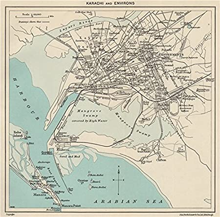 KARACHI  Town city plan  Cantonments  Pakistan - 1965 - old