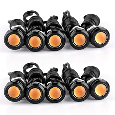 YITAMOTOR 10 Pack LED Eagle Eye Bulbs Amber Car Motorcycle Daytime Running Lights DRLs Fog Signal Backup Reverse Power Wheel Front Grill Bumper License Plate Universal Light: Automotive