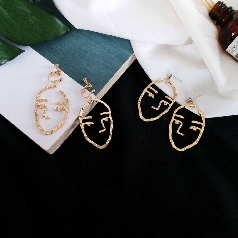 Face Earring Set-ikooo 3 Pair Gold Tone Hypoallergenic Earrings for Girls Teens Women Earrings Including Hollow Face Hand Shape Gold Statement Earrings by Ikooo (Image #3)