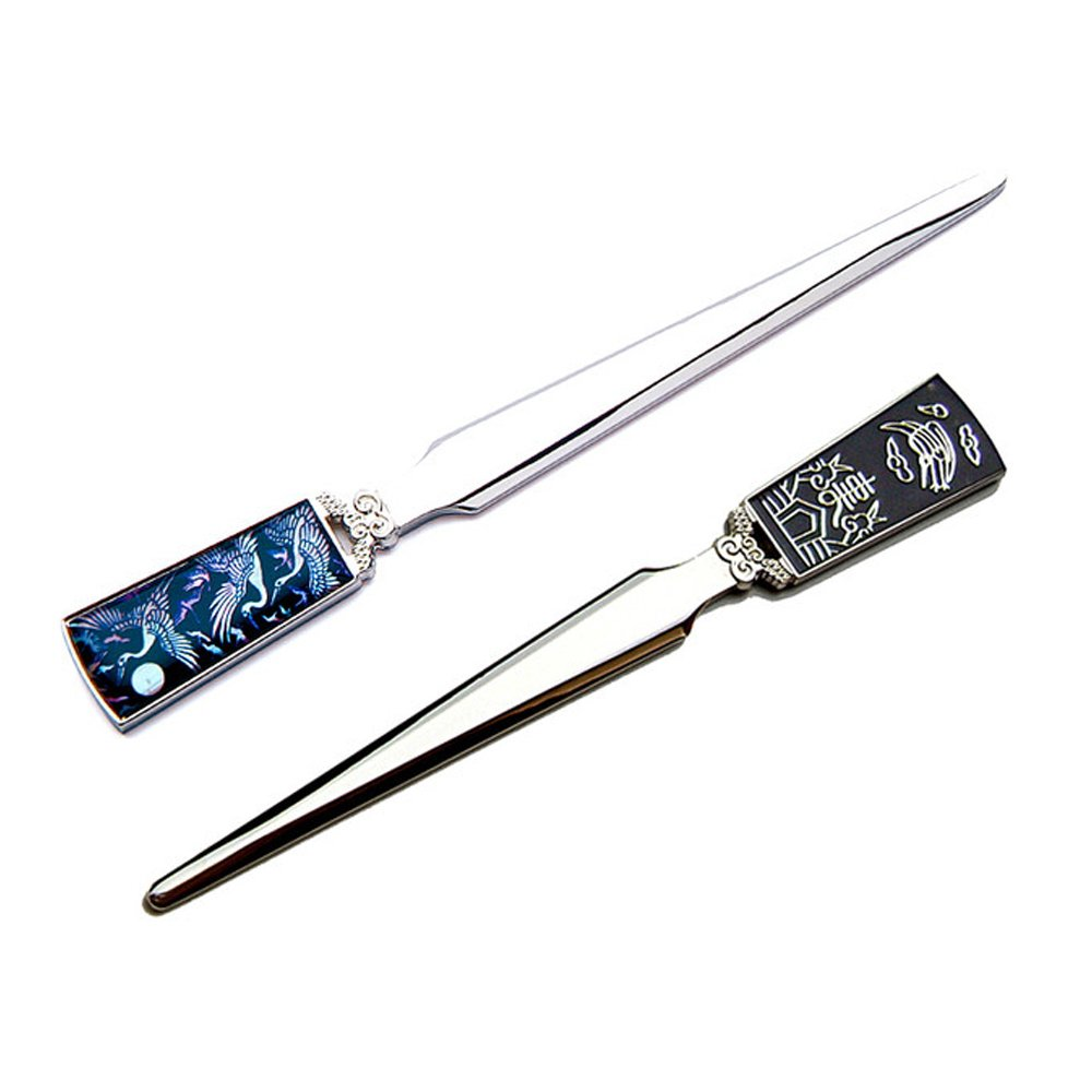 Inlay with Mother of Pearl Full Moon with Crane Design Metal Steel Office Knife Hand Cutter Blade Envelope Letter Opener