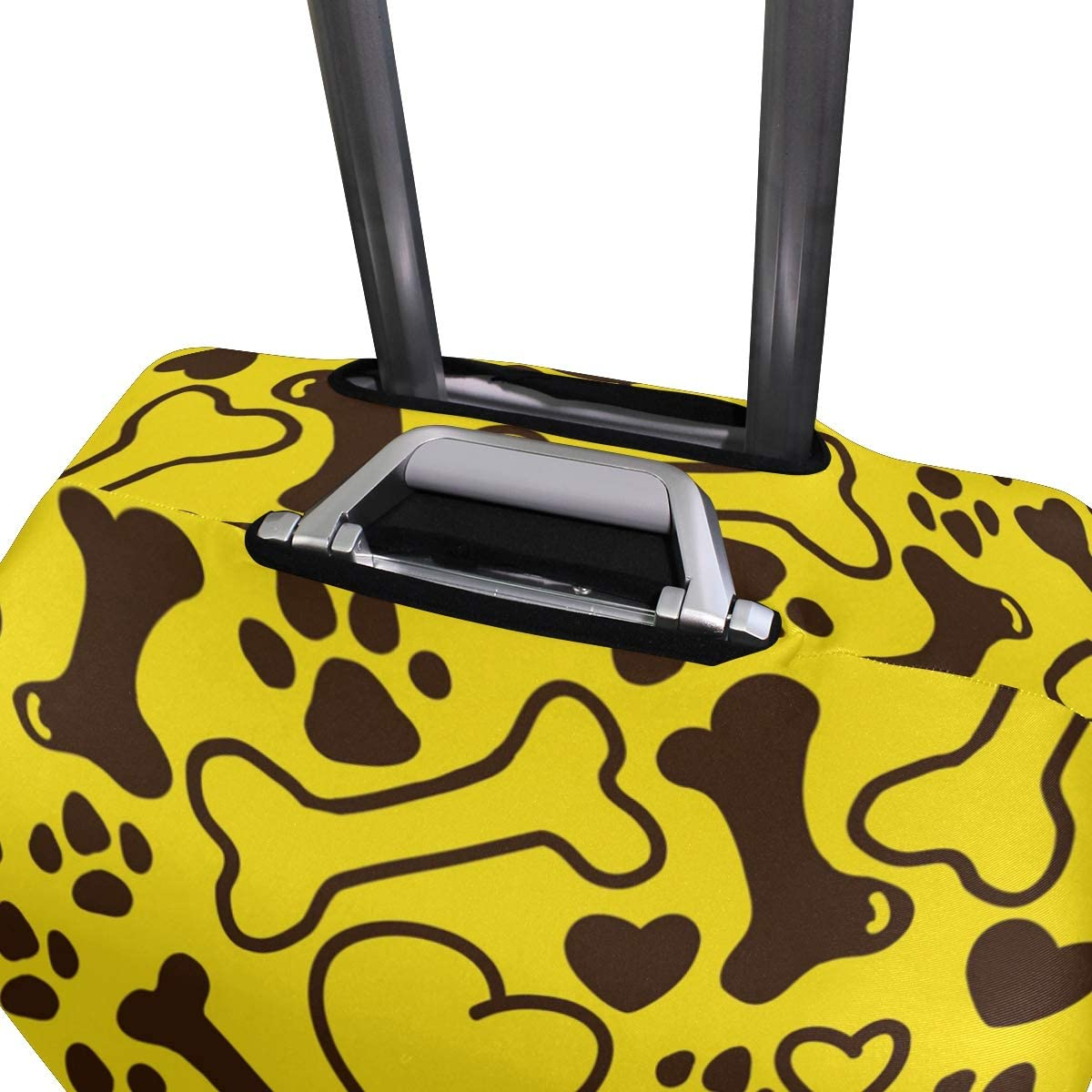 FOLPPLY Yellow Cartoon Bone Claw Heart Pattern Luggage Cover Baggage Suitcase Travel Protector Fit for 18-32 Inch