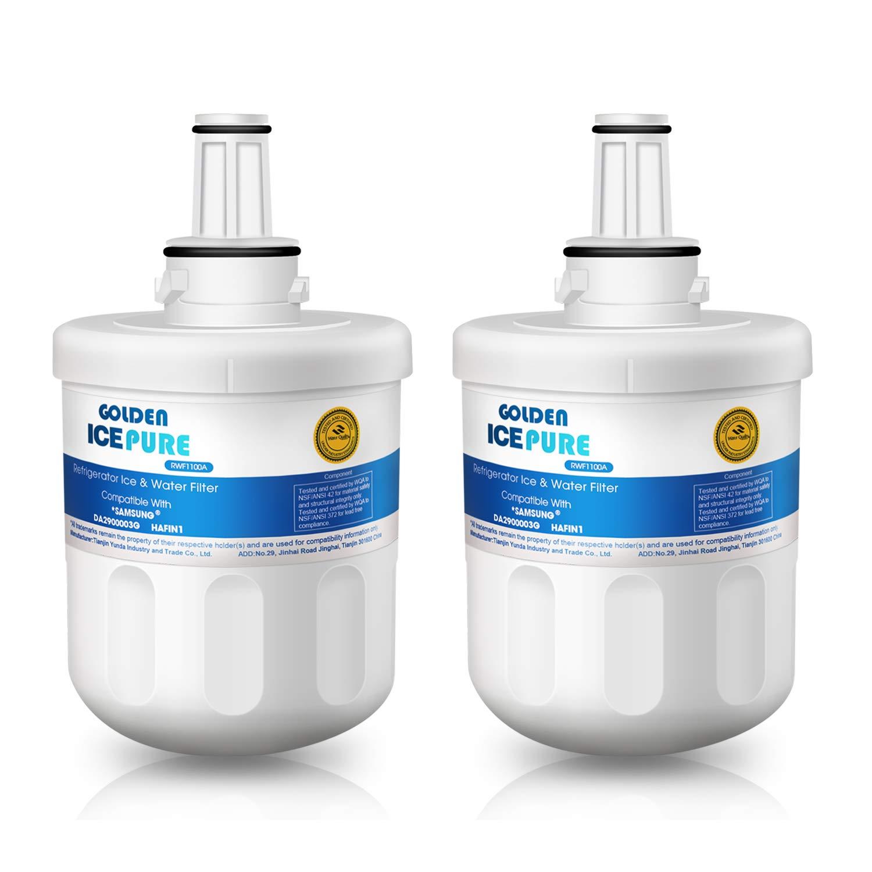 2 Remplacement du filtre à eau du réfrigérateur pour Samsung DA29-00003G, DA29-00003B, DA29-00003A, DA97-06317A, HAFIN1 paquet de GOLDEN ICEPURE