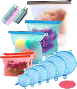 Silicone Bags Reusable - Reusable Ziplock Sandwich Bag - Reusable Sandwich Bags - Ziplock Bags Silicone Storage Bags - Silicone Stretch Lids & Reusable Durable Food Storage Covers for Bowls