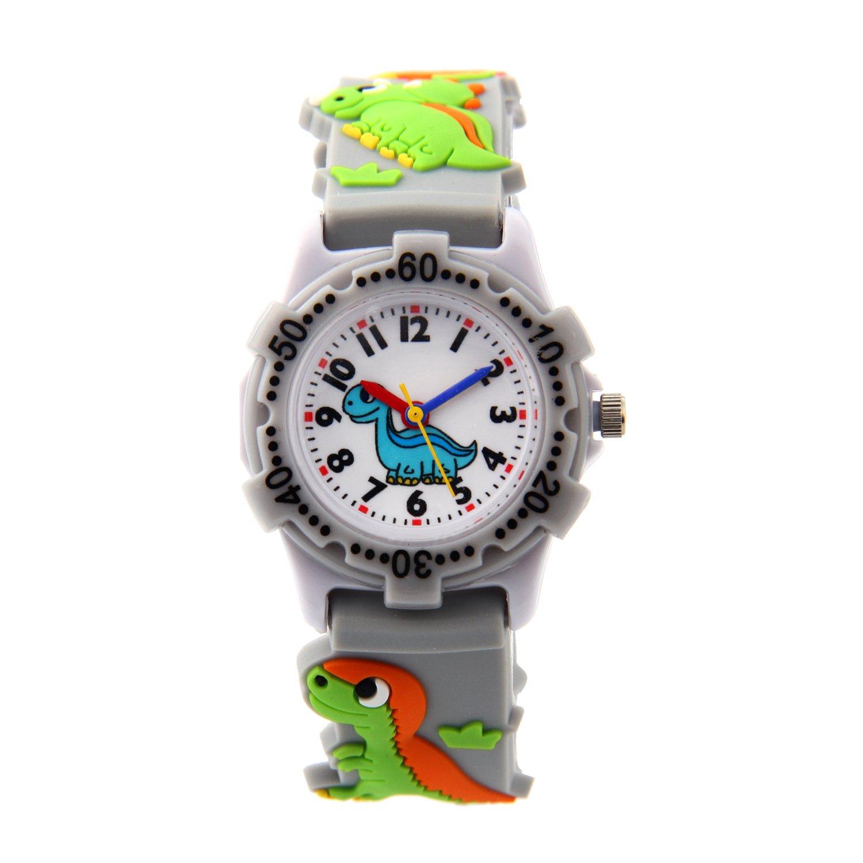 Eleoption Waterproof Kid Watches 3D Cute Cartoon Digital Silicone Wristwatches Time Teacher Gift for Little Girls Boy Kids Children (Dinosaur-Gray)