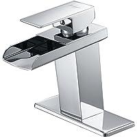 BWE Chrome Waterfall Bathroom Faucet Single Handle One Hole Deck Mount Lavatory