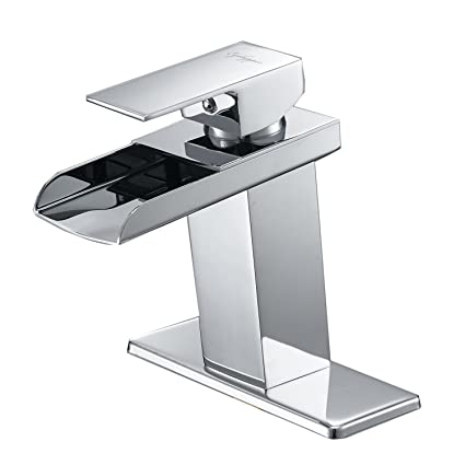 Eyekepper Modern Single Handle Waterfall Bathroom Sink Faucet ...