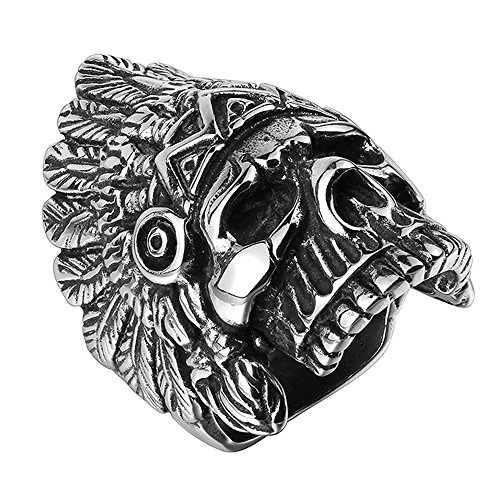 BLOOMCHARM Skull Rings for Men Boys Jewelry Punk Head Stainless Steel Bands Gifts Presents by BLOOMCHARM (Image #1)