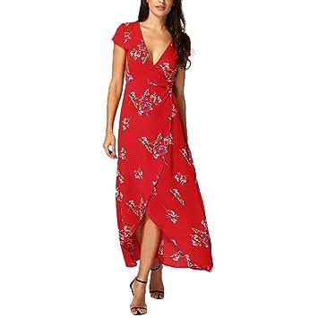 Women Summer Dresses - Saihui Bohemian Hawaii Style Bandages Front High Waist Deep V-Neck