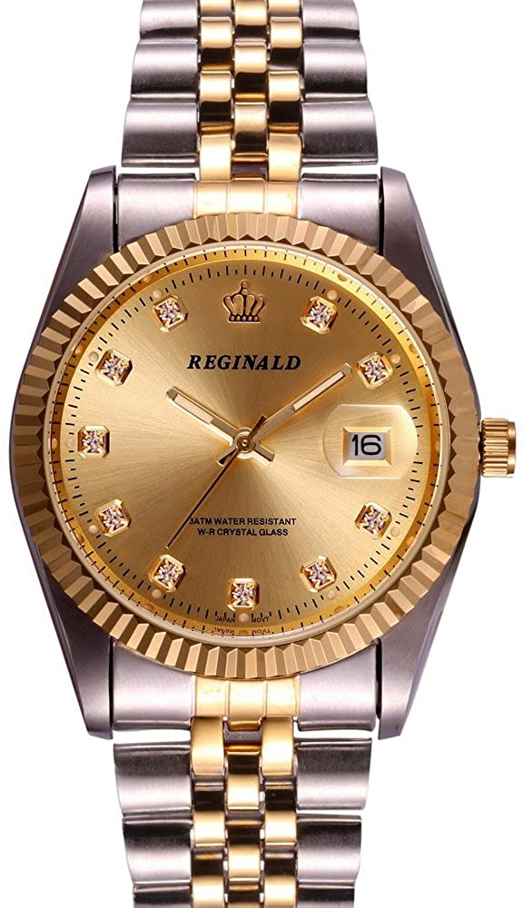 Reginald Watch Unisex Luxury Mineral Mirror Silver Gold Band Calendar Luminous Quartz Watch