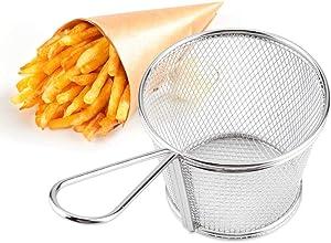 Wifehelper 2 pcs Mini Stainless Steel Chips Deep Fry Baskets Food Presentation Strainer Potato Cooking Tool, Mini Chips Fry Basket Stainless Steel Fryer Baskets Strainer French Fries Holder