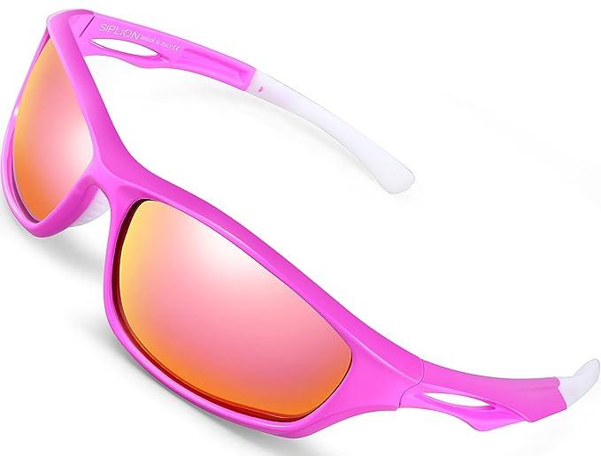SIPLION Hombre Gafas De Sol Polarizado Deportes para Ciclismo Pesca Golf TR90 Súper ligero Marco