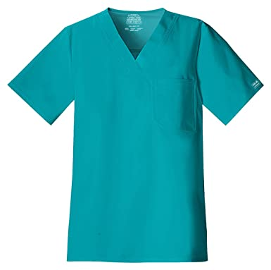 3e79db12abc Cherokee Core Stretch Workwear Men's V-Neck Solid Scrub Top X-Small Teal  Blue
