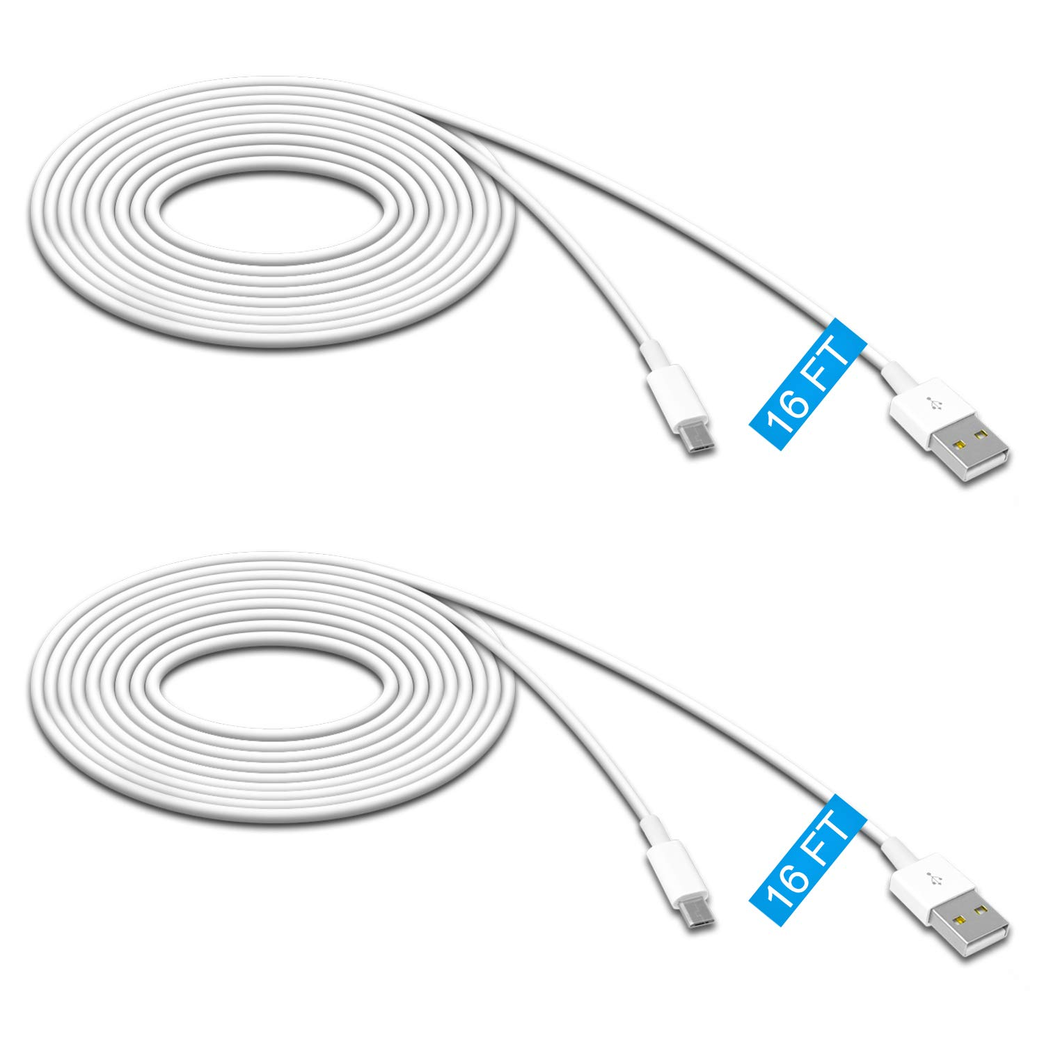 2 Pack 16.4FT Power Extension Cable for Wyze Cam Pan/WyzeCam/ Kasa Cam/YI Dome Home Camera/Furbo Dog/Nest Cam/Arlo Q/Blink/Amazon Cloud Camera,USB to Micro USB Durable Charging and Data Sync Cord
