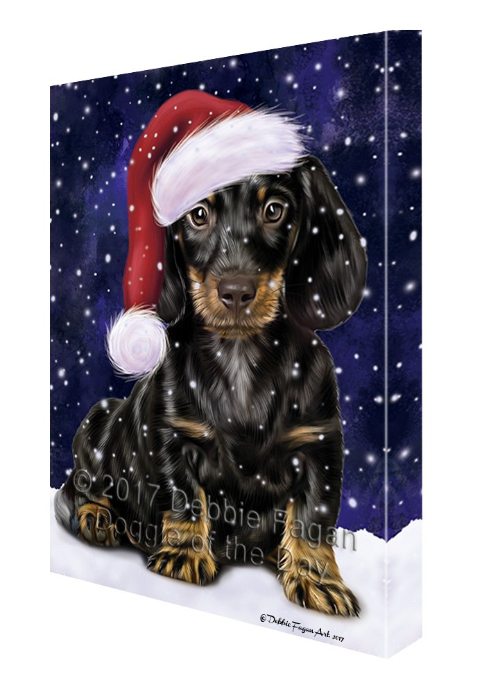 Let it Snow Christmas Holiday Dachshund Dog Wearing Santa Hat Canvas Wall Art D226 (36x48) by Doggie of the Day