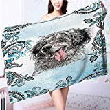 also easy Quick dry bath towelSetter Pet Tribal Bohemian Yoga Art Prints Dogs Blue Gray Absorbent Ideal for everyday use L55.1 x W27.5 INCH