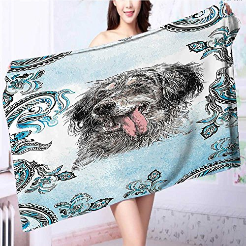 also easy Quick dry bath towelSetter Pet Tribal Bohemian Yoga Art Prints Dogs Blue Gray Absorbent Ideal for everyday use L55.1 x W27.5 INCH by also easy