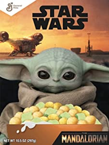 General Mills, Star Wars Breakfast Cereal, The Mandalorian, Fruity Cereal with Marshmallows, Baby Yoda, Family Size 18.6 Oz