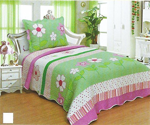 Kids' Boys & Girls Twin Size Polyester Double Sides 2pcs Bedspread Quilt Coverlet & Sham (Big Twin Quilt)