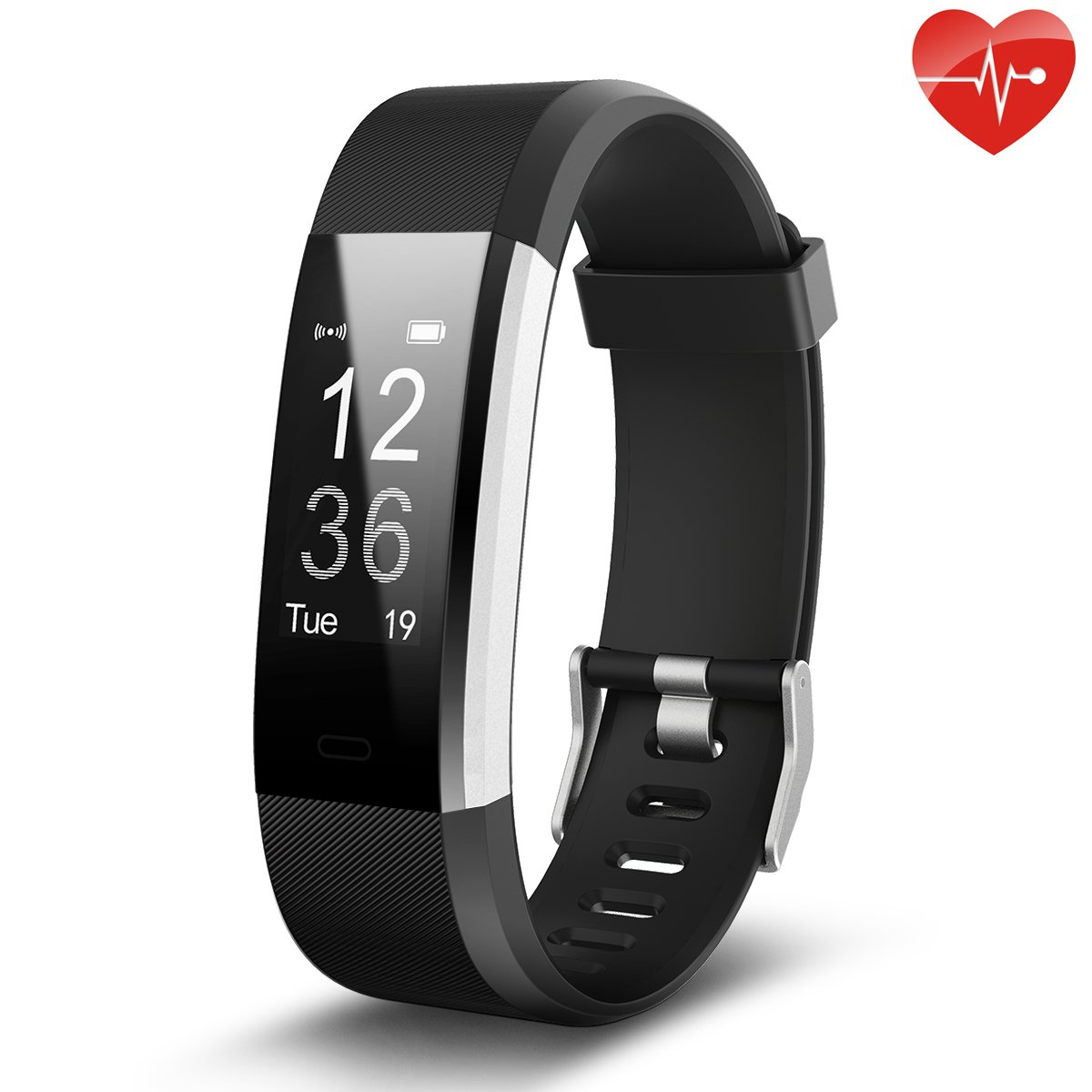 Juboury Fitness Tracker, Slim Heart Rate Smart Bracelet Wearable Pedometer Touch Screen Activity Tracker Fitness Watch for Android and IOS Smart Phones (Black)