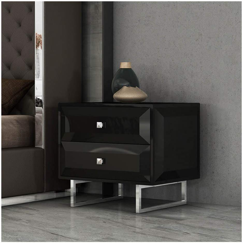Whiteline Modern Living Abrazo Nightstand, Black