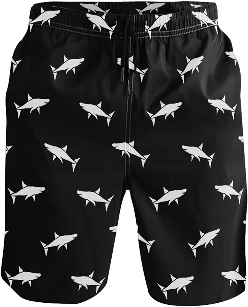 Mens Swim Trunks White Black Sharks Quick Dry Board Shorts with Lining