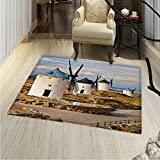 Windmill Area Rug Carpet Medieval Spain Windmills in Consuegra Old Historical Landmark Living Dining Room Bedroom Hallway Office Carpet 3'x5' Blue White Pale Brown